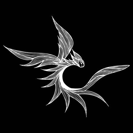 Hand drawn vector dragon illustration isolated on black background. Fantastic dragon icon. Freehand mythology aminal. Fantasy outline illustration. Banque d'images - 124795922