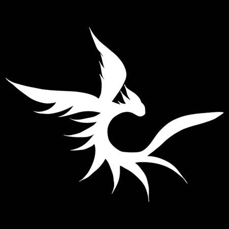 Hand drawn vector dragon illustration isolated on black background. Fantastic dragon icon. Freehand mythology aminal. Fantasy outline illustration. Banque d'images - 124795927
