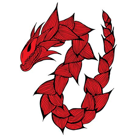 Hand drawn vector red dragon illustration. Fantastic dragon icon. Freehand silhouette of mythology aminal. Fantasy outline illustration.