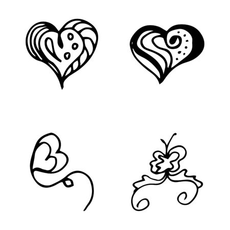 Flowers and hearts hand drawn doodle collection isolated on white background. 4 floral graphic elements. Big  set. Outline collection. Reklamní fotografie - 124795932