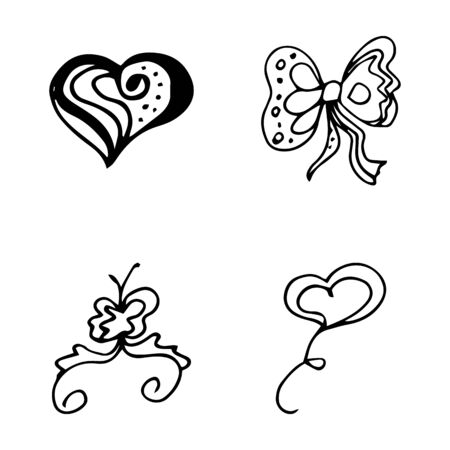 Flowers and hearts hand drawn doodle collection isolated on white background. 4 floral graphic elements. Big  set. Outline collection. Reklamní fotografie - 124795930