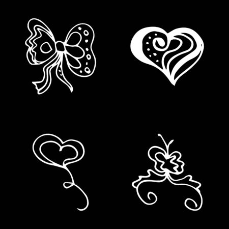 Flowers and hearts hand drawn doodle collection isolated on black background. 4 floral graphic elements. Big  set. Outline collection. Reklamní fotografie - 124795936