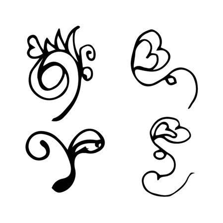 Flowers and hearts hand drawn doodle collection isolated on white background. 4 floral graphic elements. Big  set. Outline collection.