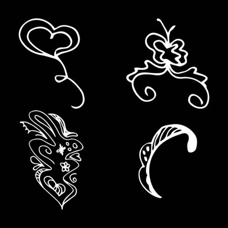 Flowers and hearts hand drawn doodle collection isolated on black background. 4 floral graphic elements. Big  set. Outline collection. Reklamní fotografie - 124795971
