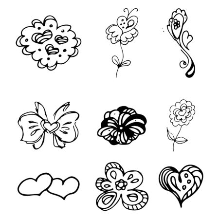 Flowers and hearts hand drawn doodle collection isolated on white background. 6 floral graphic elements. Big  set. Outline collection. Reklamní fotografie - 124795975