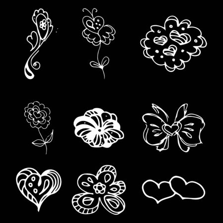 Flowers and hearts hand drawn doodle collection isolated on black background. 6 floral graphic elements. Big  set. Outline collection. Reklamní fotografie - 124795974