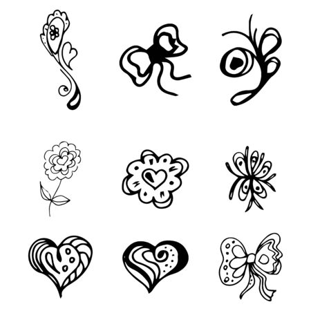 Flowers and hearts hand drawn doodle collection isolated on white background. 6 floral graphic elements. Big  set. Outline collection. Reklamní fotografie - 124795977