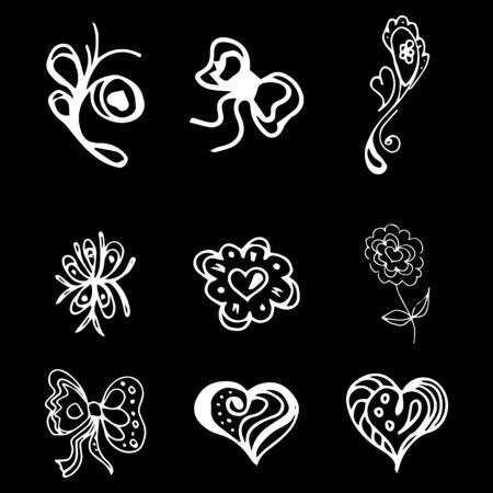 Flowers and hearts hand drawn doodle collection isolated on black background. 6 floral graphic elements. Big  set. Outline collection. Reklamní fotografie - 124795978