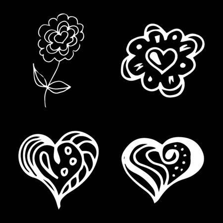 Flowers and hearts hand drawn doodle collection isolated on black background. 4 floral graphic elements. Big  set. Outline collection. Reklamní fotografie - 124795987