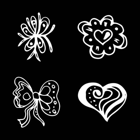 Flowers and hearts hand drawn doodle collection isolated on black background. 4 floral graphic elements. Big  set. Outline collection. Reklamní fotografie - 124795991