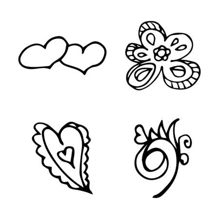 Flowers and hearts hand drawn doodle collection isolated on white background. 4 floral graphic elements. Big  set. Outline collection. Reklamní fotografie - 124795989