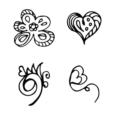 Flowers and hearts hand drawn doodle collection isolated on white background. 4 floral graphic elements. Big  set. Outline collection. Reklamní fotografie - 124795993