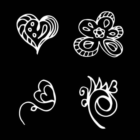 Flowers and hearts hand drawn doodle collection isolated on black background. 4 floral graphic elements. Big  set. Outline collection. Reklamní fotografie