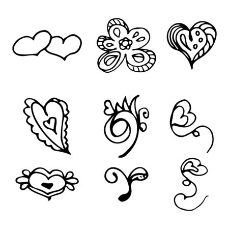 Flowers and hearts hand drawn doodle collection isolated on white background. 6 floral graphic elements. Big  set. Outline collection. Reklamní fotografie - 124795995