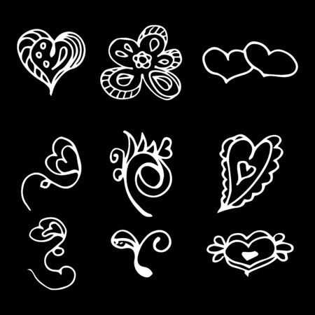 Flowers and hearts hand drawn doodle collection isolated on black background. 6 floral graphic elements. Big  set. Outline collection. Reklamní fotografie - 124796001