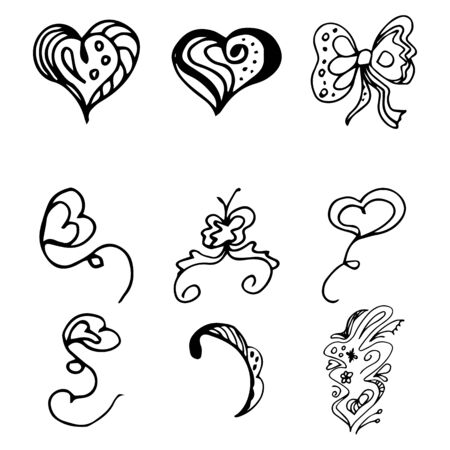 Flowers and hearts hand drawn doodle collection isolated on white background. 6 floral graphic elements. Big  set. Outline collection. Reklamní fotografie