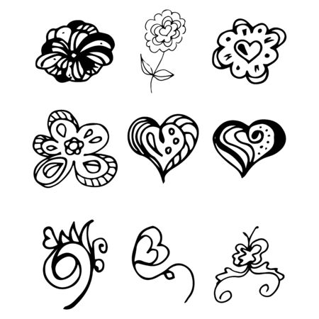 Flowers and hearts hand drawn doodle collection isolated on white background. 6 floral graphic elements. Big  set. Outline collection. Reklamní fotografie - 124796004