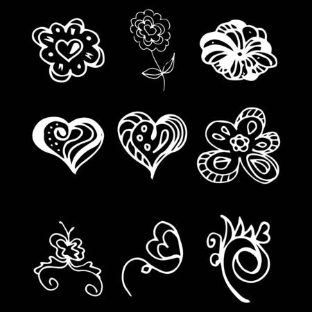 Flowers and hearts hand drawn doodle collection isolated on black background. 6 floral graphic elements. Big  set. Outline collection. Reklamní fotografie - 124796003