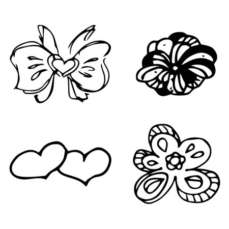 Flowers and hearts hand drawn doodle collection isolated on white background. 4 floral graphic elements. Big  set. Outline collection. Reklamní fotografie - 124796005
