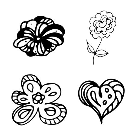 Flowers and hearts hand drawn doodle collection isolated on white background. 4 floral graphic elements. Big  set. Outline collection. Reklamní fotografie - 124796013