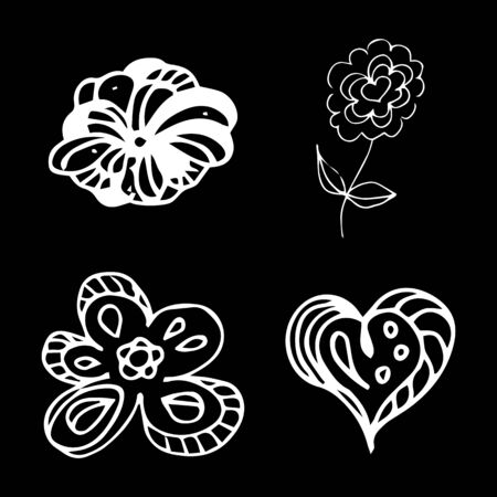 Flowers and hearts hand drawn doodle collection isolated on black background. 4 floral graphic elements. Big  set. Outline collection. Reklamní fotografie - 124796014