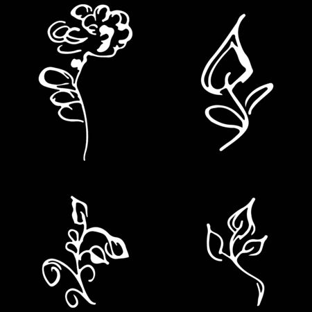Flowers and branches hand drawn doodle collection isolated on black background. 4 floral graphic elements. Big  set. Outline collection. Reklamní fotografie - 124796051
