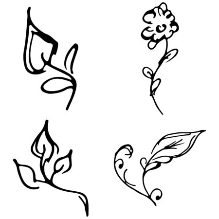 Flowers and branches hand drawn doodle collection isolated on white background. 4 floral graphic elements. Big  set. Outline collection. Reklamní fotografie - 124796053