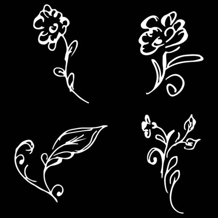 Flowers and branches hand drawn doodle collection isolated on black background. 4 floral graphic elements. Big  set. Outline collection.