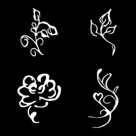 Flowers and branches hand drawn doodle collection isolated on black background. 4 floral graphic elements. Big  set. Outline collection. Reklamní fotografie - 124796060