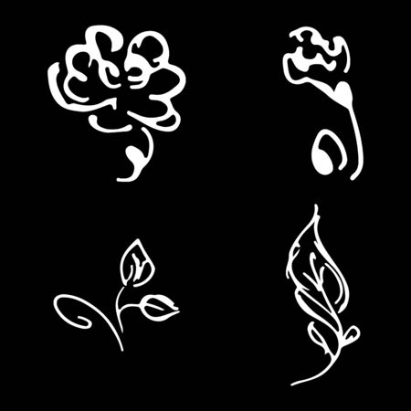 Flowers and branches hand drawn doodle collection isolated on black background. 4 floral graphic elements. Big  set. Outline collection. Reklamní fotografie - 124796067