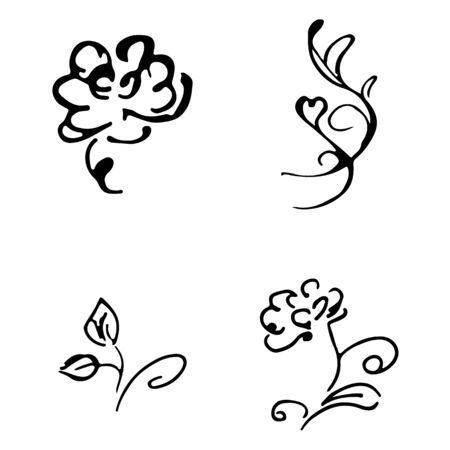 Flowers and branches hand drawn doodle collection isolated on white background. 4 floral graphic elements. Big  set. Outline collection. Reklamní fotografie