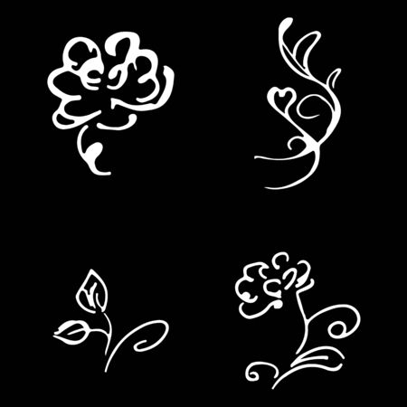 Flowers and branches hand drawn doodle collection isolated on black background. 4 floral graphic elements. Big  set. Outline collection. Reklamní fotografie - 124796068