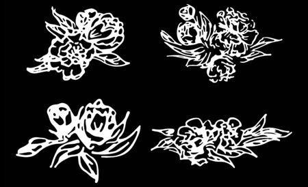 Abstract peonies and roses isolated on black background. Hand drawn floral collection. 4 floral graphic elements. Big  set. Outline icons. Reklamní fotografie - 124796091