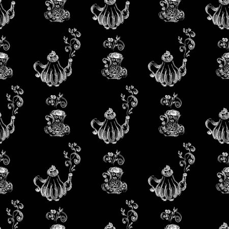 Seamless pattern of teapots and teacups isolated on black background. Chinese seamless pattern of teapots and teacups collection for textile design.