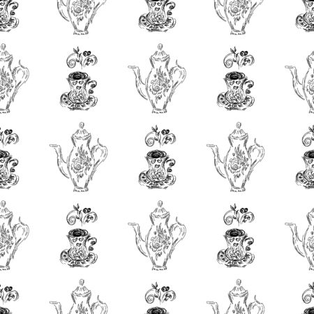 Seamless pattern of teapots and teacups isolated on white background. Chinese seamless pattern of teapots and teacups collection for textile design.