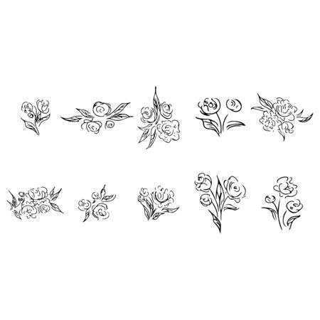 Rose outline set in line art style.