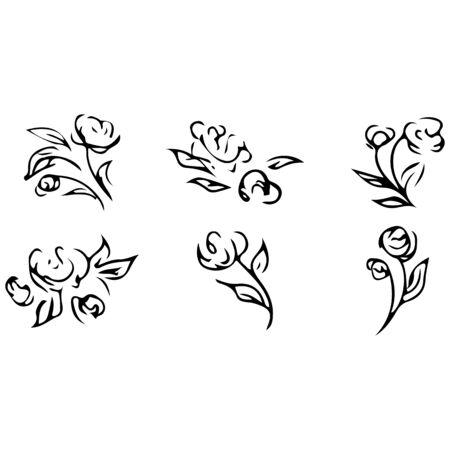 Rose outline set. Isolated drawing. Vintage sketch. Ilustrace