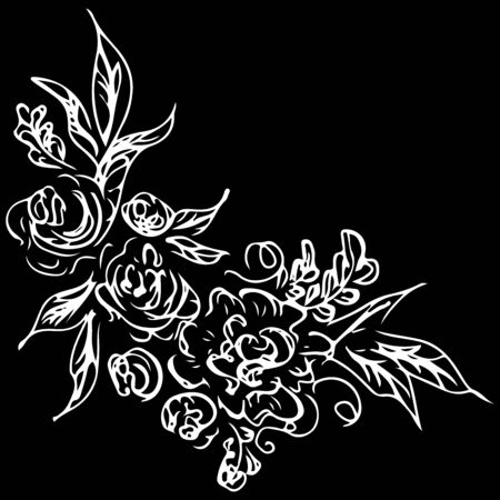 Line art rose pattern.