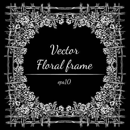 Hand drawn floral frame outline.
