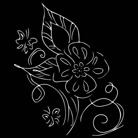 Linear icon with black flowers outline hand on white background. Ilustrace