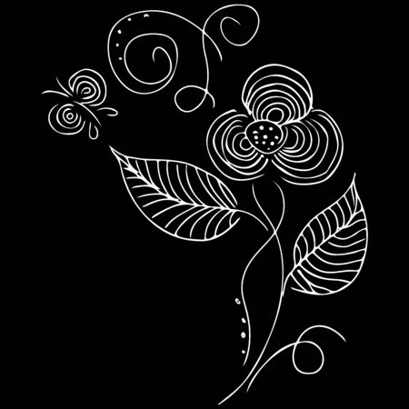 Vintage floral set for textile design. Vintage black engraving illustration.