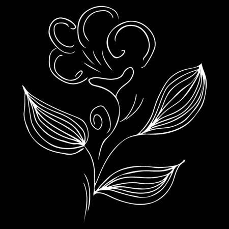 Modern hand drawn illustration with black flower outline hand line on white background. Ilustrace