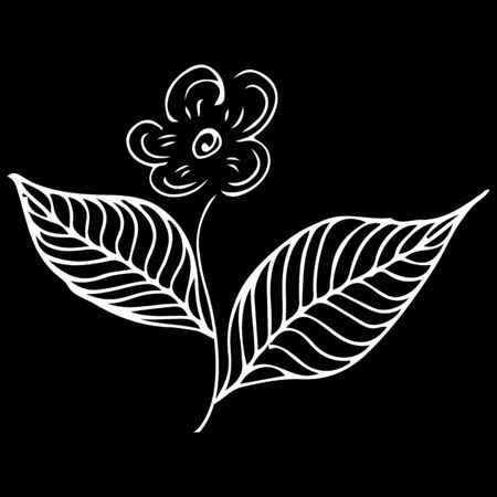 Modern doodle icon with flower outline hand line. Ilustrace