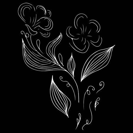 Doodle set with flower outline hand line. Ilustrace