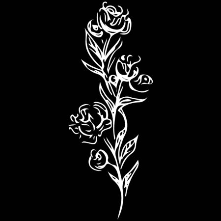Red rose outline icon in vintage style on soft white background. Ilustrace