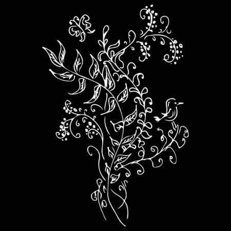 Linear icon with black flowers outline hand on black background. Vector sketch. Logo design. Cute hand drawn illustration. Flower pattern. White background isolated.