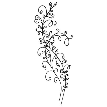 Linear icon with black flowers outline hand on white background. Vector sketch. Logo design. Cute hand drawn illustration. Flower pattern. White background isolated.