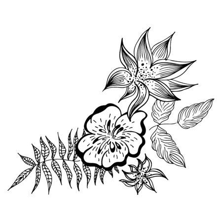 Summer tropical leaf. Floral botanical flower. Hand drawn vector illustration. Contour sketch. Tropical leaf palm icon
