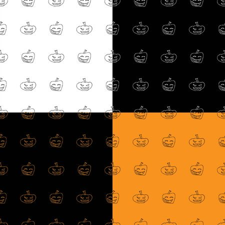 Set of four seamless patterns. Halloween pumpkin. Halloween pumpkin seamless outline in a hand-drawn style. October harvest background. Vector freehand set. Vector collection. Ilustrace