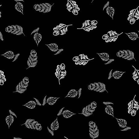 Seamless autumn leaves outline in vintage style. Seamless autumn leaves outline in a hand-drawn style. Simple vector illustration. Hand drawn sketch vector illustration. Ilustrace